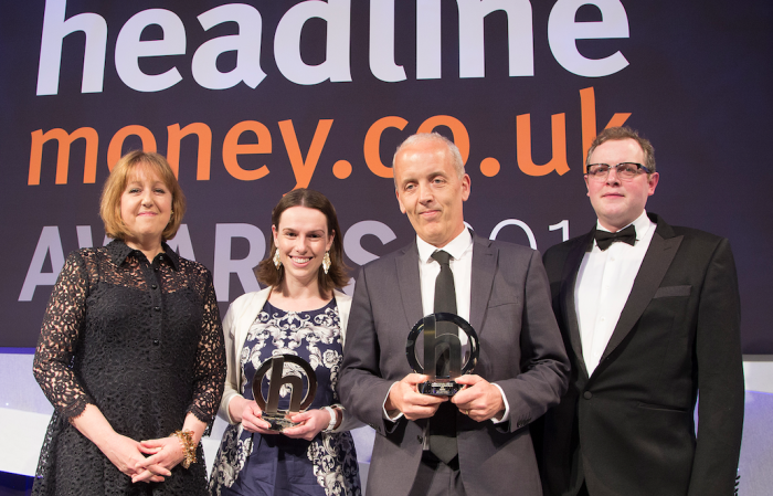 Corporate Adviser editor John Greenwood and Sunday Times deputy money editor Ruth Emery receive their awards from Miles Jupp and Scottish Widows' Claire Burston