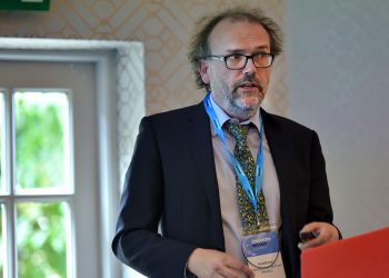 """David Farrar, Senior Policy Manager at the Department for Work and Pensions presents """"Pension policies on the horizon?"""", at a two day summit hosted by Corporate Advisor at Pennyhill Park, Bagshot. Photo by Michael Walter/Troika"""